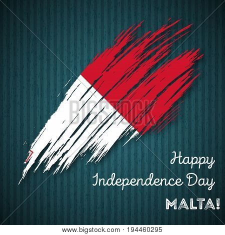 Malta Independence Day Patriotic Design. Expressive Brush Stroke In National Flag Colors On Dark Str