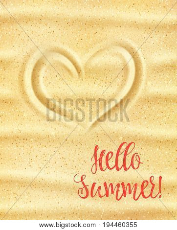 Hello Summer poster. Loving heart on yellow sand of sunny sea beach for summer holiday and tropical vacation greeting card, travel banner and beach party invitation design