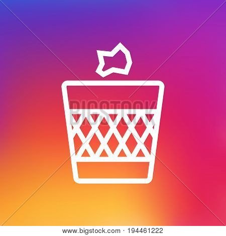 Isolated Urn Outline Symbol On Clean Background. Vector Wastebasket Element In Trendy Style.