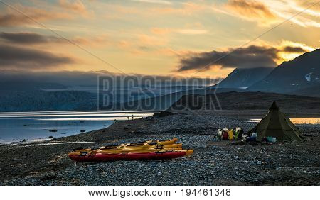 Kayak campsite near glacier front in Svalbard