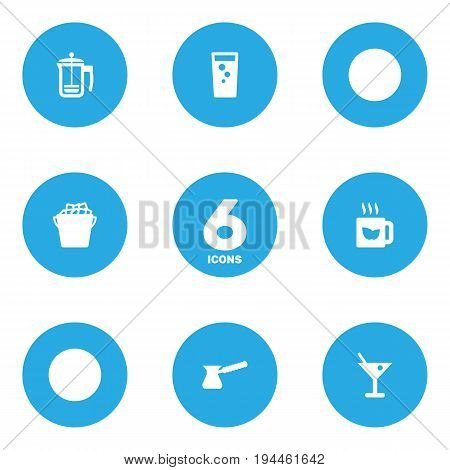 Set Of 6 Beverages Icons Set.Collection Of Martini, Fridge, Soda And Other Elements.