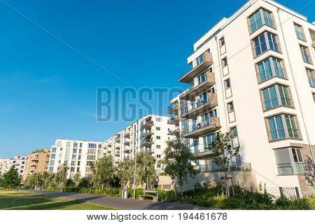 Modern housing development area seen in Berlin, Germany