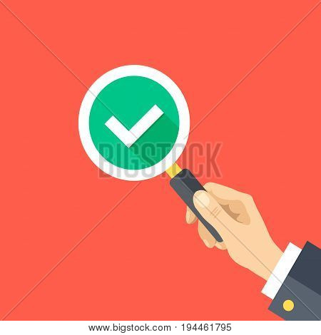 Human hand holding magnifying glass with check mark. Magnifier, checkmark icon. Quality check, inspection, verification concepts. Flat design graphics. Vector illustration isolated on red background