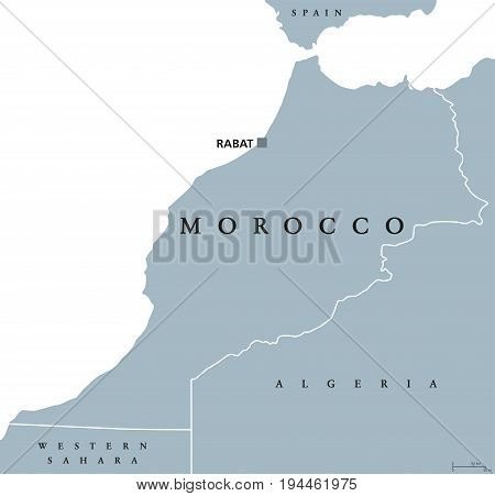 Morocco political map with capital Rabat and borders. Kingdom and Arab country in the Maghreb region of North Africa. Gray illustration isolated on white background. English labeling. Vector.