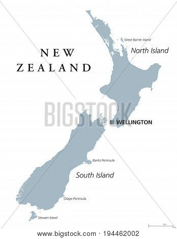 New Zealand political map with capital Wellington. Island nation and country in the southwestern Pacific Ocean. North and South Island. Gray illustration on white background. English labeling. Vector.