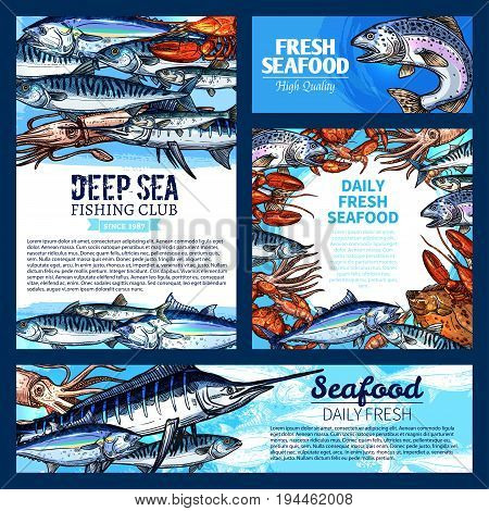 Fresh fish and seafood banner, sea fishing poster set. Salmon, crab, tuna, marlin, shrimp, lobster, mackerel, squid, flounder and sprat sketches for fish market label, fishing club card design