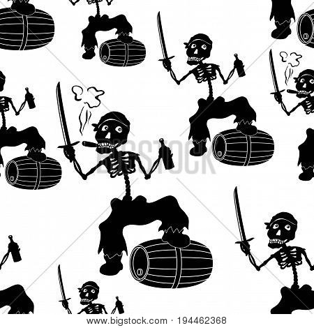 Seamless Wallpaper, Cartoon Evil Zombie Pirate Jolly Roger Skeleton with a Sword, Bottle of Wine and Barrel, Black Silhouettes Isolated on White Background. Vector