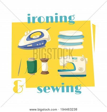 Ironing and sewing household chores cartoon icon. Steam iron with pile of ironed laundry and sewing machine with sewing thread spool and needle for housework and home appliances themes design