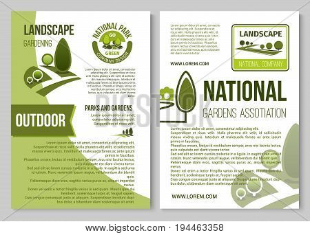 Landscape design and gardening service company poster, brochure template. National park, city garden and eco forest badge with green tree, plant and grass lawn for landscape architecture themes design
