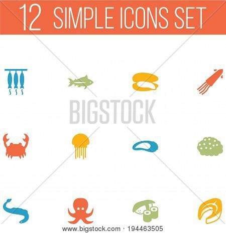 Set Of 12 Sea Icons Set.Collection Of Beefsteak, Smoked, Shell And Other Elements.