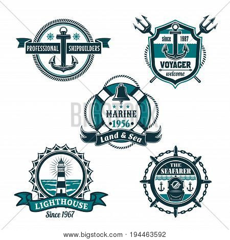 Nautical retro badge set. Sea anchor, ships bell, lighthouse and vintage diving helmet, framed by helm, rope, chain, lifebuoy and heraldic shield with ribbon banner for marine themes design