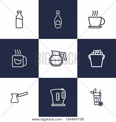 Set Of 9 Drinks Outline Icons Set.Collection Of Coffeepot, Dairy, Kettle And Other Elements.