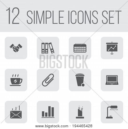 Set Of 12 Bureau Icons Set.Collection Of File Folder, Mail, Diagram And Other Elements.