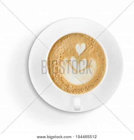 Latte art / hot coffee / cappucino cup with foam design isolated on white background