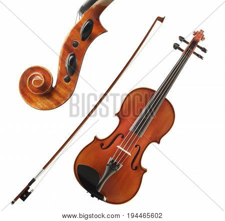 Cello Collection With Bow And Close Up Head View Isolated On White Background