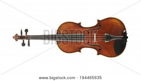 Old-fashioned wooden cello isolated on white background
