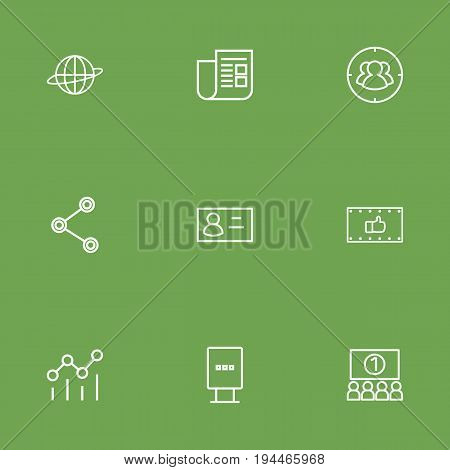 Set Of 9 Commercial Outline Icons Set.Collection Of Social Media Ads, Business Card, Audience And Other Elements.