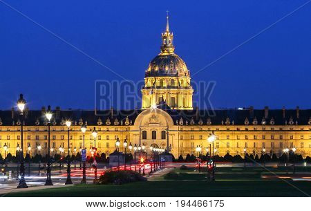 The cathedral of Saint Louis at night, Paris, France.
