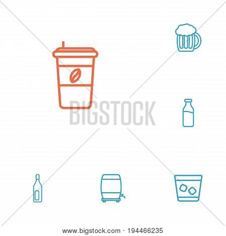 Set Of 6 Drinks Outline Icons Set.Collection Of Beer, Cappuccino, Wine Cask And Other Elements.