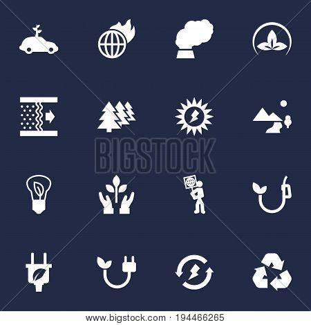 Set Of 16 Ecology Icons Set.Collection Of Cleaning, Leaf, Reforestation And Other Elements.