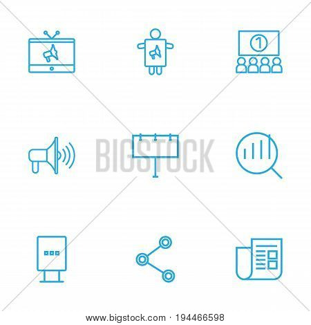 Set Of 9 Advertising Outline Icons Set.Collection Of Newspaper, Stand, Tv Elements.