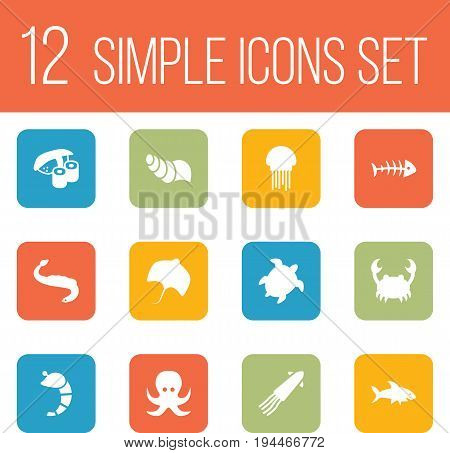 Set Of 12 Seafood Icons Set.Collection Of Shark, Devilfish, Sink And Other Elements.