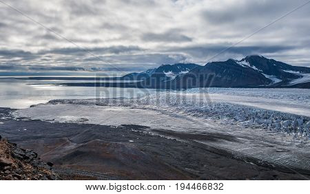 The mouth of a glacier from the top Svalbard