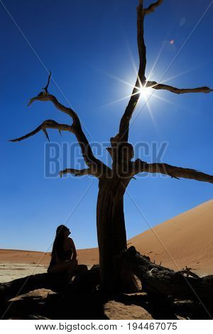 Silhouette of lonely girlat Deadvlei, Sossusvlei. Concept of wanderlust in namibian famous desert. Adventure trip travel to african wonders in Namibia