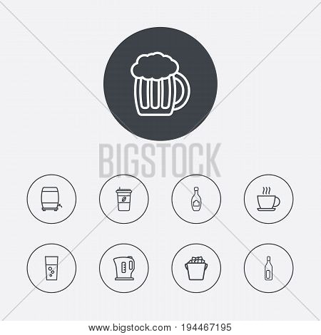 Set Of 9 Drinks Outline Icons Set.Collection Of Ice Bucket, Wine Cask, Bottle And Other Elements.