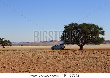 Roof Top Tent Car At African Savanna Landscape, Namibia, South Of Africa.