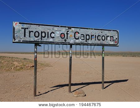 Tropic Of Capricorn, Namibia- 22 May 2017: Tropic Of Capricorn Sign In Namibia