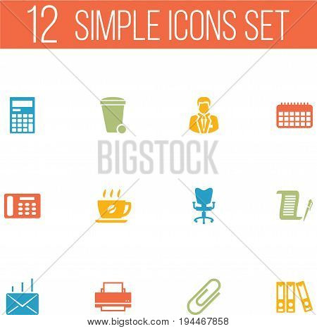 Set Of 12 Cabinet Icons Set.Collection Of Calendar, Calculator, Coffee And Other Elements.