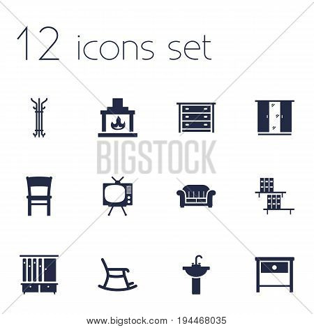 Set Of 12 Situation Icons Set.Collection Of Couch, Bookcase, Bedside Table And Other Elements.