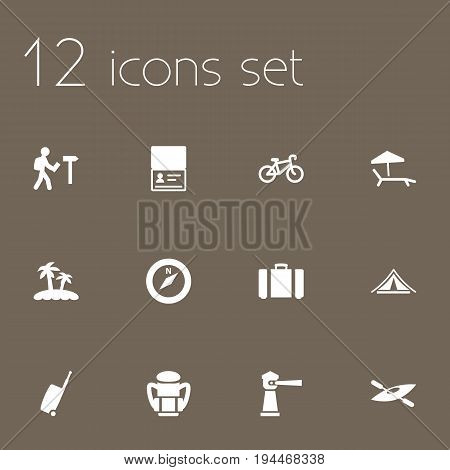 Set Of 12 Travel Icons Set.Collection Of Suitcase, Traveler, Citizenship And Other Elements.