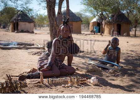 Kamanjab, Namibia - 28 May 2017: Himba Tribe Woman With Ornaments On The Neck In The Village Of Himb