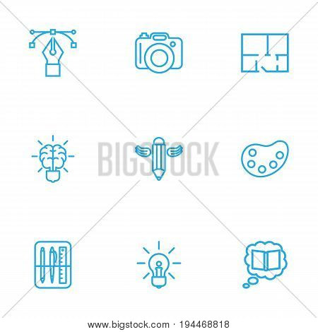 Set Of 9 Creative Outline Icons Set.Collection Of Bezier Curve, Dslr Camera, Idea And Other Elements.