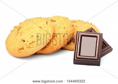 Oatmeal cookies with chocolate on a white background.