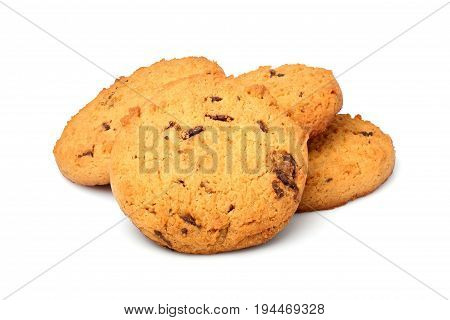 Oatmeal cookies with chocolate chips.Isolated on white background.