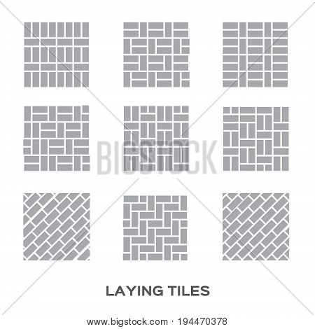 Laying tile for interior design . Ceramic tiles. Bricks. 9 different ways to lay tile. lVector