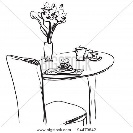 Dining table for date with coffee. Hand Drawn Sketch Vector illustration.