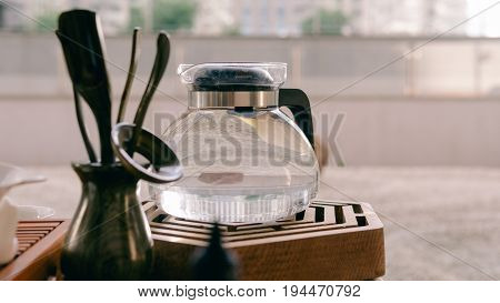 Tea Tools For Traditional Chinese And Japanese Tea Close-up. Tea Ceremony And Tea Tools For Her. The