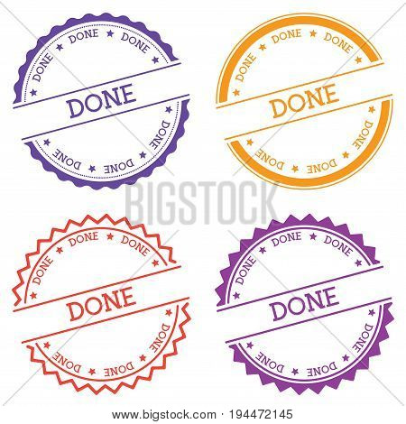 Done Badge Isolated On White Background. Flat Style Round Label With Text. Circular Emblem Vector Il