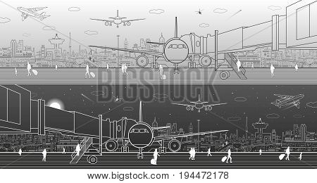 Airport panorama. The plane is on the runway. Aviation transportation infrastructure. Airplane fly, people get on the plane. Modern city on background, black and light version, vector design art