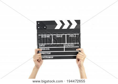 woman hold movie clapper on isolated and white background