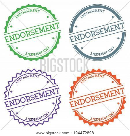 Endorsement Badge Isolated On White Background. Flat Style Round Label With Text. Circular Emblem Ve