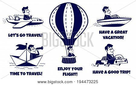 Travel icons set. Happy man traveling by car, airplane, boat, paper boat, hot air balloon. Vector illustration in retro cartoon style