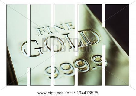 Gold Bar With Bars Close Up High Quality