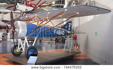 Le Bourget Paris France- May 042017: Morane-Saulnier Al (1917)in the Museum of Astronautics and Aviation Le Bourget