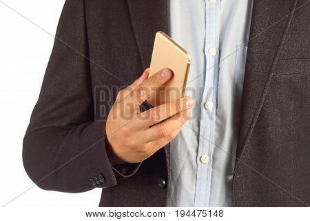 Businessman holding phone closeup isolated on white background. Business Concept Business Man Success Macro