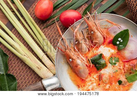 Tom Yum soup or tom yum goong a Thai traditional spicy prawn soup (food)adjustment size for bannercover and header.